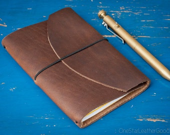 """Indie Pen Notebook, Field Notes cover, Field Notes case, leather notebook cover for 3.5""""x5.5"""" notebook & pen, Horween Chromexcel"""