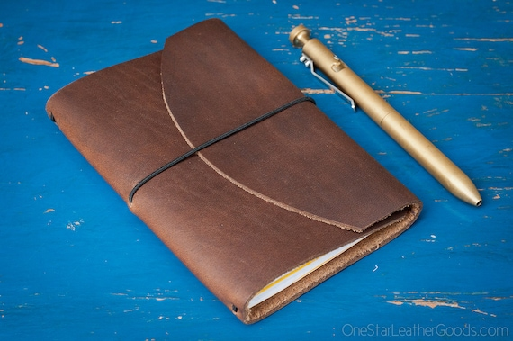 "Indie Pen Notebook, Field Notes cover, Field Notes case, leather notebook cover for 3.5""x5.5"" notebook & pen, Horween Chromexcel"
