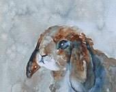 watercolor painting of rabbit painting rabbit print rabbit art print rabbit painting bunny print folk art ATC SMALL Artist Trading Card