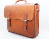 Handcrafted Brown Extra Large Retro Briefcase Leather Bag - Big Messenger Bag For Everyday - Perfect Gift For Men
