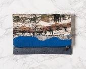 50% OFF Landscape Fold Over Clutch, California Travel Zip Foldover Clutch Purse, Printed Large Pouch. Nature, Green, Blue Reflection