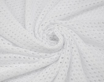 White Open Knit Sweater Knit Fabric Open Knit Fabric Intimate Clothing Stretchy Fabric by the yard - 1 Yard Style 6059