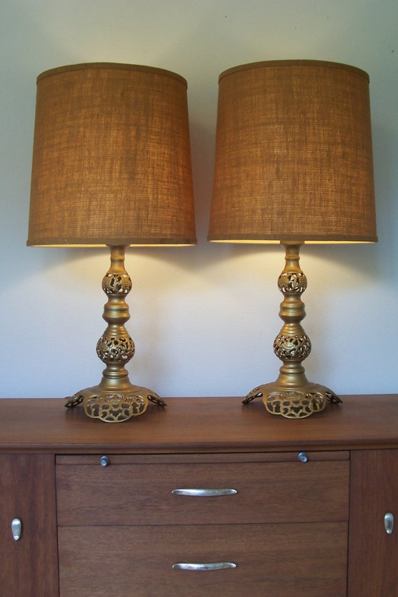 vintage pair moroccan style pierced brass table lamps pair. Black Bedroom Furniture Sets. Home Design Ideas