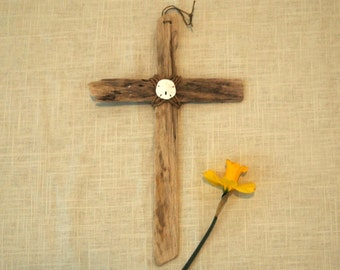 Driftwood Cross with Sand Dollar Ornament Wall Hanging