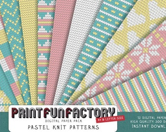 Knit digital paper - Pastel knit pattern background paper - 12 digital papers (#095) INSTANT DOWNLOAD