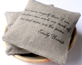 Lavender sachets, custom quote, personalized sachet, grey linen, boxed favor, organic lavender, housewarming gift, wedding favor, 10