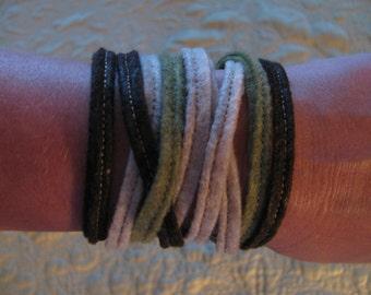 Felt Wrap Bracelet 100% Eco-fi Post-Consumer Recycled Plastic Bottles, Brown,Green, Tan