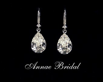 "Crystal teardrop earrings, Bridal, wedding, Swarovski, clear crystal, silver, ""Kiss Me"" earrings"
