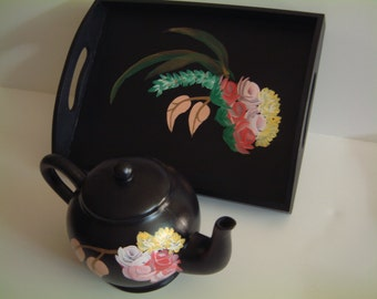 Hand-painted Serving Tray and Decorative Tea Pot.
