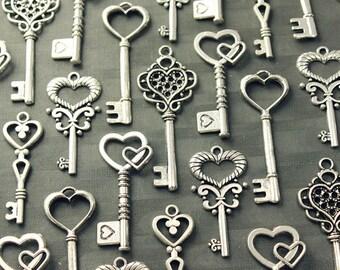 50 Heart Skeleton Key Collection Antiqued Silver Wedding Key Wholesale Lot Bulk Keys Of Spring