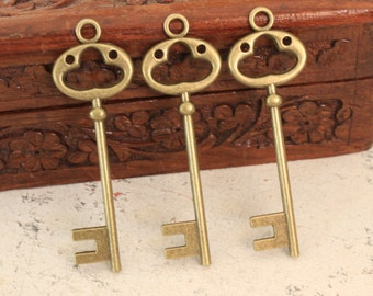 On Sale 20% Off:10 Large Skeleton Keys Double sided Antique Brass Steampunk Supplies Wedding Key