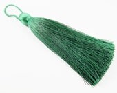 Extra Large Thick Deep Green Thread Tassels - 4.4 inches - 113mm - 1 pc