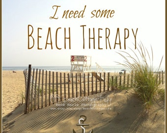 I need some BEACH THERAPY - Seaside Print square Lifeguard Stand & Dunes (Coastal Living Cottage Decor/ Beach House Wall Art Photography)