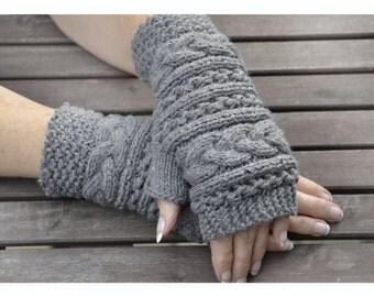 Grey Fingerless mittens , Fingerless mittens ,  gloves, hand knit fingerless mittens ,  fingerless gloves, knit gloves