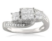 14k White Gold Invisible-Set Three-Stone Princess-cut & Round Diamond Engagement Ring (3/4 cttw, H-I, I1-I2)