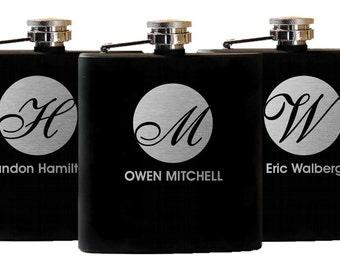 10 Personalized Groomsmen Gifts - Custom Engraved Initial Flasks Liquor Flasks - Groomsman Best Man Groom Gift