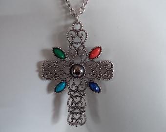 Vintage Avon Jewel color Cross....214