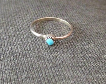 NAVAJO Made INFANTS RING Sterling Turquoise  Vintage Unworn  2 1/2