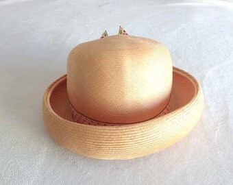 Vintage 60's Adolfo Bonwit Teller  Straw Hat Dotted Bow