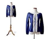70s Bohemian Lace Top / Vintage Blouse / Navy Blouse / Small Blouse / Collar Blouse /Vintage Clothing Blouse / Women Tops Blouse