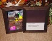 Super Bowl sports program magazine frame solid rustic cedar photo craft dark finish
