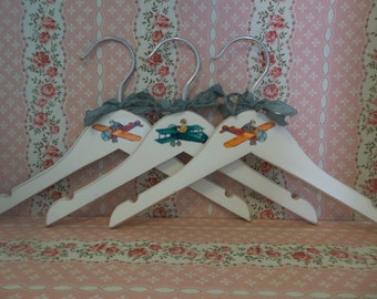 Shabby White Wooden Baby Clothes Hangers // Set Of 3