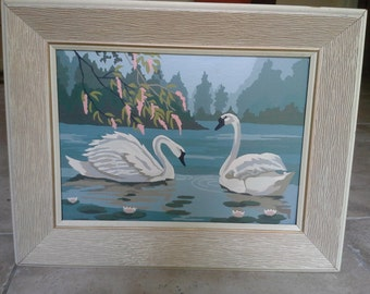 Vintage Mid Century Paint by Number Swans SALE
