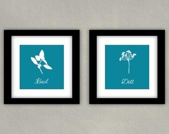 Herb Art Print Set - Kitchen Decor - Dill & Basil in Teal