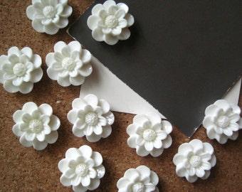 White Push Pins, Flower Thumbtacks, Flower Tacks, Cottage Chic Tacks,  Housewarming Gifts, Hostess Gifts, Wedding Favors