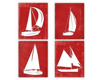 Red Nautical Wall Art, Sailboat Wall Art, Nautical art, Red Sail Boat, Sailboat Print Set, Beach house Art, Nautical nursery, Lake House