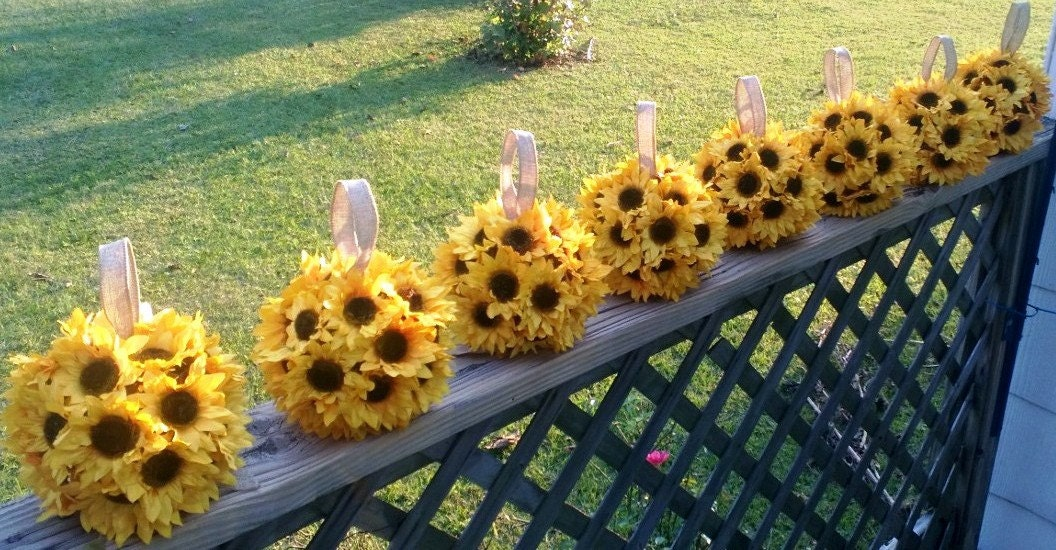 Sunflower kissing ball centerpiece