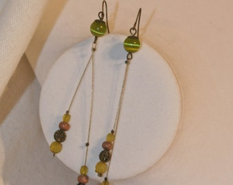 Long Natural Wood and Wire Beaded Earrings