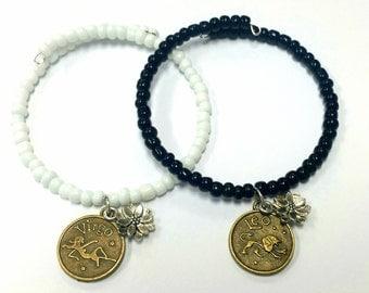 Memory Wire Bracelet, Personalized Zodiac Beaded Bracelet, Coil Bracelet, Bangles, Lotus Charm, Handmade, Custom Jewelry