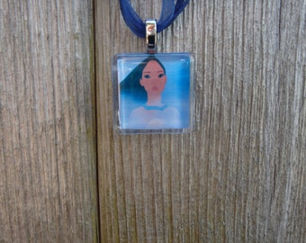 The Princess Collection Pocahontas Glass Pendant and Ribbon Necklace