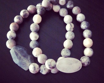 Natural faceted Labradorite and Rose quartz gemstone beaded bracelets
