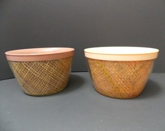 Thermal Rattan Bowls, Raffia, Melmac Ware, Insulated Ice Cream or Cereal bowls, 12 ounce bowls, 1950's kitchen, pink , cream