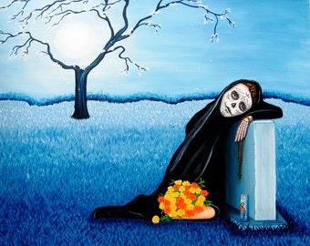 Sorrow & Hope - Dia de Los Muertos Print 8 x 10 by Evangelina Portillo