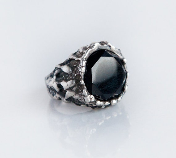 Black yx stone large solid silver witch ring dark by BreakAstone