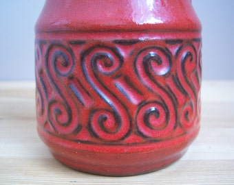W. Germany Red Ceramic Vase.