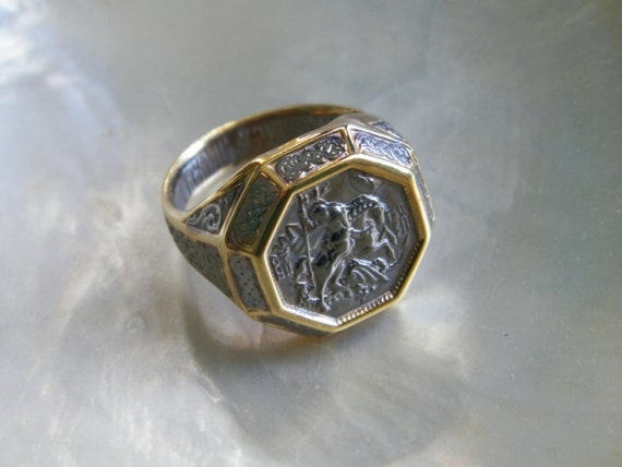 925 sterling silver russian orthodox ring st george the