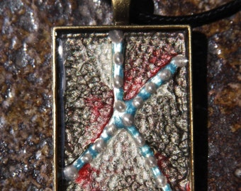 Handmade 3 D effect pendant,material rezin,pebeo,liquid,Pendants Rectangular Antique Bronze 35#25 mm