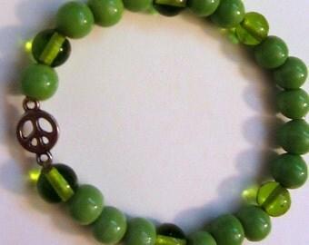 Stretchy Green Peace Bracelet