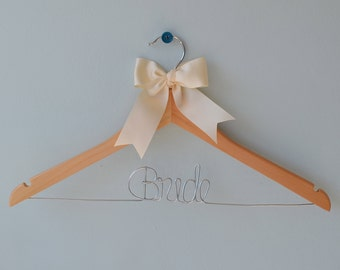 Bride Wedding Dress Hanger with Ivory Bow