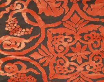 O77 Vintage Japanese Silk Blue Obi with Red Floral Design