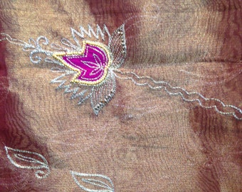 TS-35 Vintage Indian Silk Sari with Embriodery