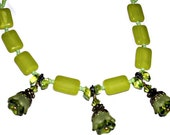 Necklace - Flower Drops - Olive Green -Chartreuse Bead Accents - Green Seed Beads-Elegant Piece