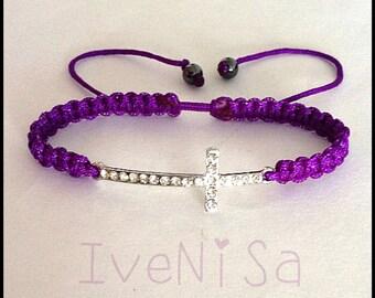Purple bracelet. sideways cross bracelet. macrame bracelet. silver bracelet. handmade bracelet. women's bracelet.