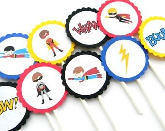 12 Superhero Cupcake Toppers, First Birthday, Superhero Theme, Baby Shower, Superhero Party, Cake Toppers, Superhero Birthday, Flying Heros