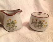 Cream and Sugar Bowl Set Floral Pattern Japan