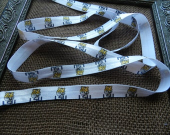 3 Yards of 5/8 LSU Elastic FOE  Ribbon